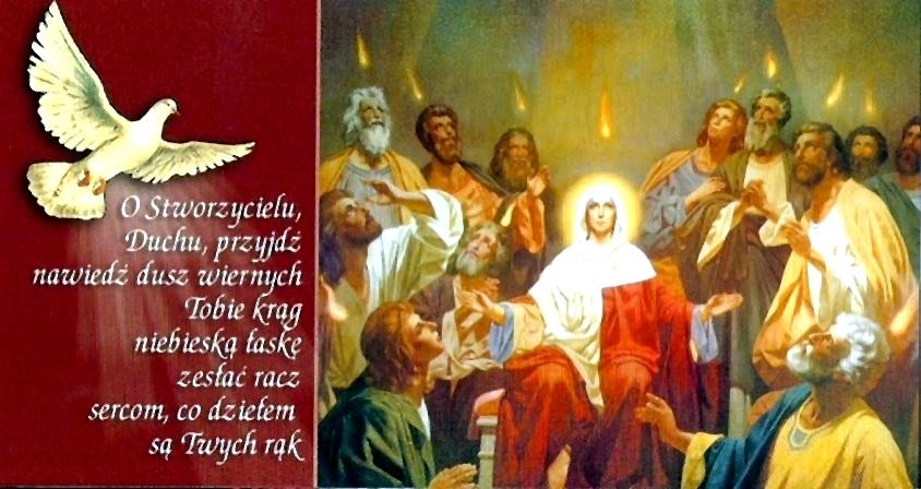 Znalezione obrazy dla zapytania zesłanie Ducha Świętego